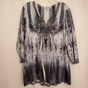Live and Let Live 3/4 Sleeve Tunic NWOT